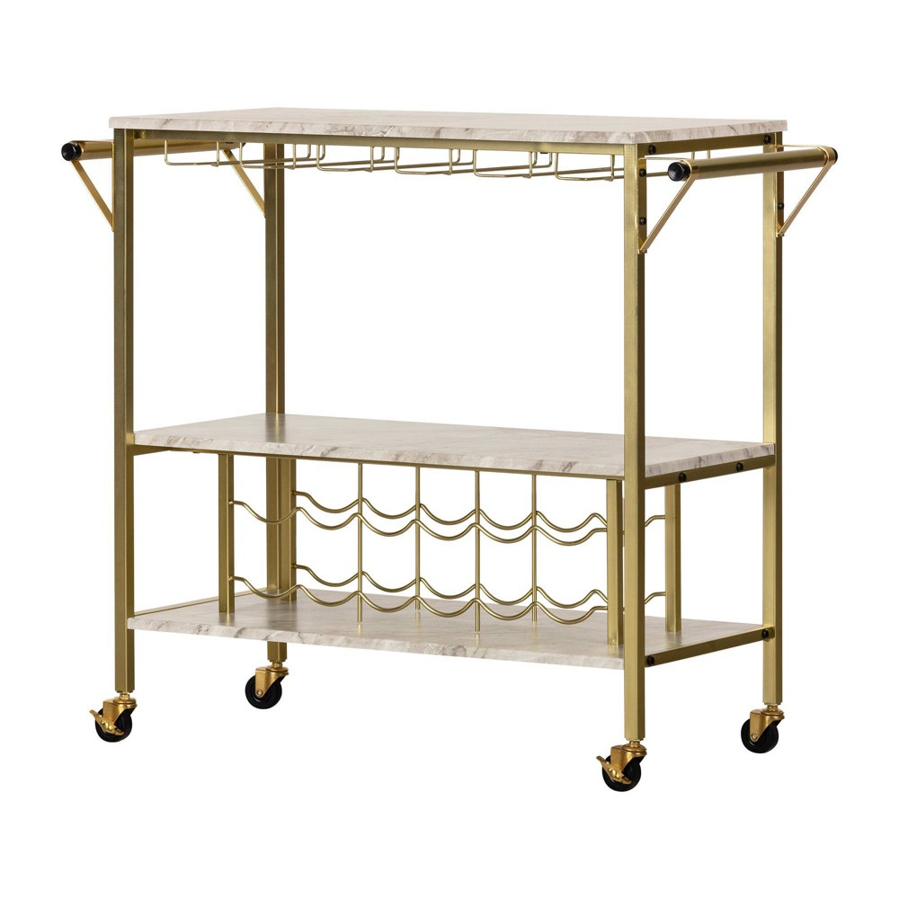 Image of Maliza Bar Cart with Wine Bottle Storage and Wine Glass Rack Gold - South Shore