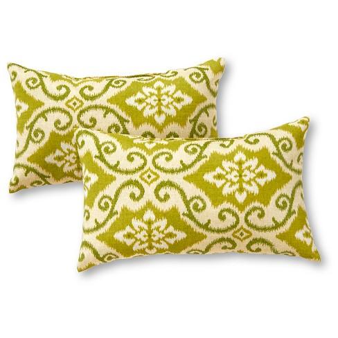 Set of 2 Shoreham Ikat Outdoor Rectangle Throw Pillows - Kensington Garden - image 1 of 4