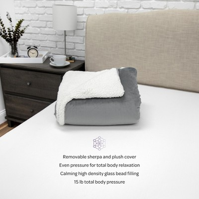 SensorPEDIC 15lb. Serenity Weighted Blanket with Removable Cover with Sherpa and Plush Fabrics