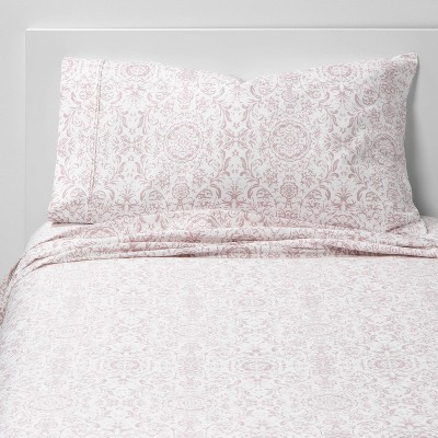 Twin/Twin XL 400 Thread Count Printed Pattern Performance Sheet Set Damask - Threshold™