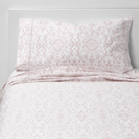Twin/Twin XL 400 Thread Count Printed Pattern Performance Sheet Set Damask - Threshold™ - image 1 of 4