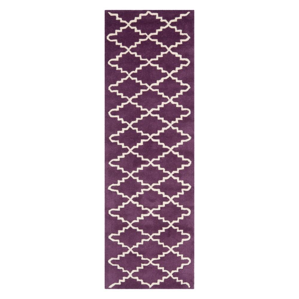 23X7 Quatrefoil Design Tufted Runner Purple/Ivory - Safavieh Buy