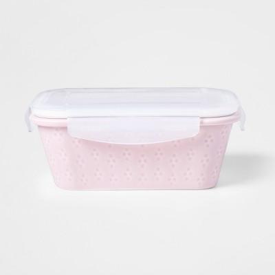 27.6oz Food Storage Container Pink Debossed Glaze Geo Pattern - Threshold™