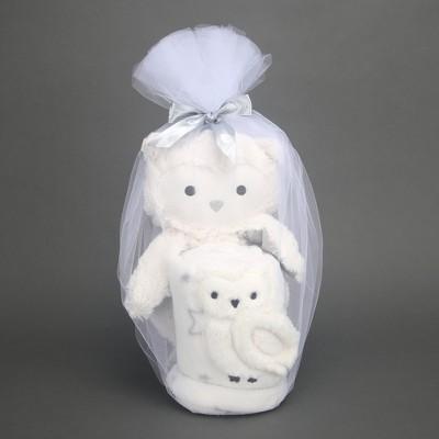 Lambs & Ivy Blanket & Plush Luxury Newborn Baby Gift Set - White Owl