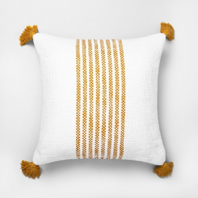 "18"" x 18"" Center Stripes Throw Pillow Yellow - Hearth & Hand™ with Magnolia"