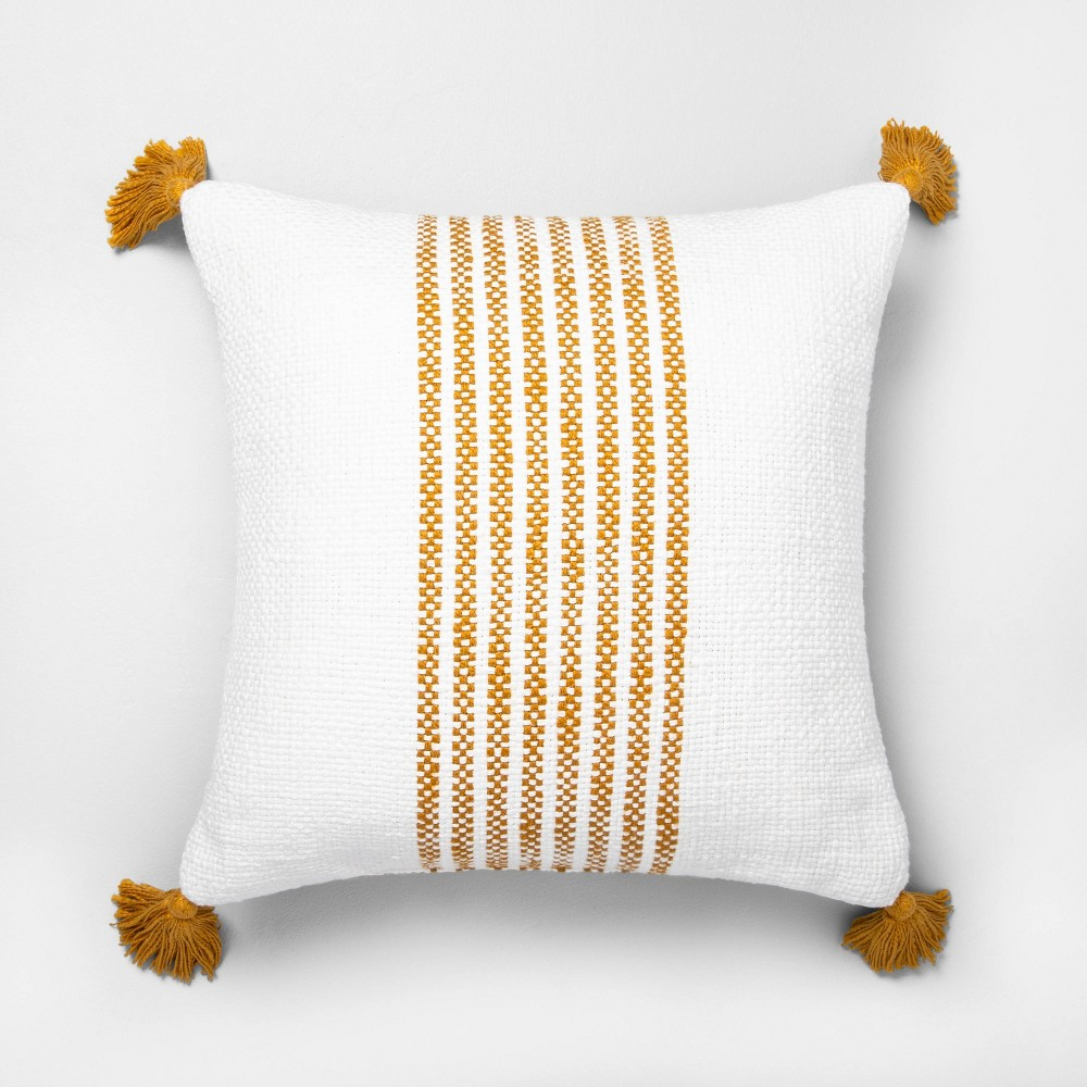 """Image of """"18"""""""" x 18"""""""" Center Stripes Throw Pillow Yellow - Hearth & Hand with Magnolia"""""""