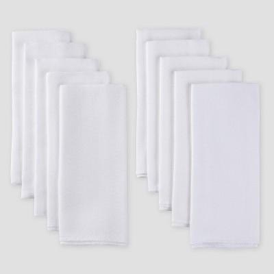 Gerber Baby Cotton 10pk Flatfold Birdseye Diaper - White One Size
