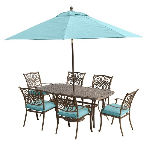 Traditions 9pc Rectangle Metal Patio Dining Set W 9 Table Umbrella Stand Blue Hanover