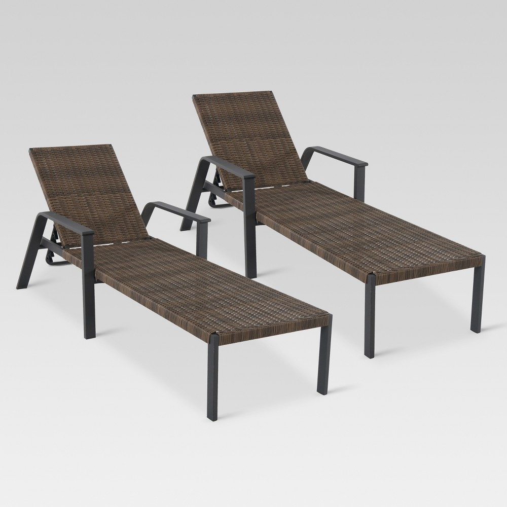 Wicker 2pk Chaise Lounge - Threshold, Brown