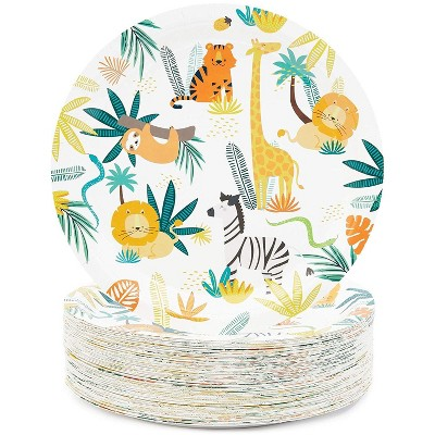 """Blue Panda 80 Packs Jungle Safari Animals Party Disposable Paper Plates Plate for Birthday Party, 9"""""""