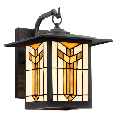 """11.75"""" 1-Light Prairie Craftsman Style Stained Glass Outdoor Lantern Wall Sconce Bronze - River of Goods"""