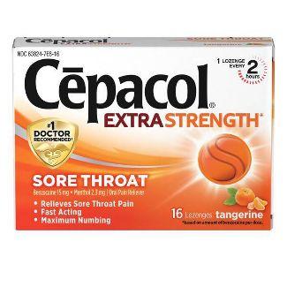 Cepacol Extra Strength Sore Throat Lozenge - Tangerine - 16ct