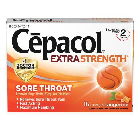 Cepacol Extra Strength Sore Throat Lozenge - Tangerine - 16ct - image 1 of 3