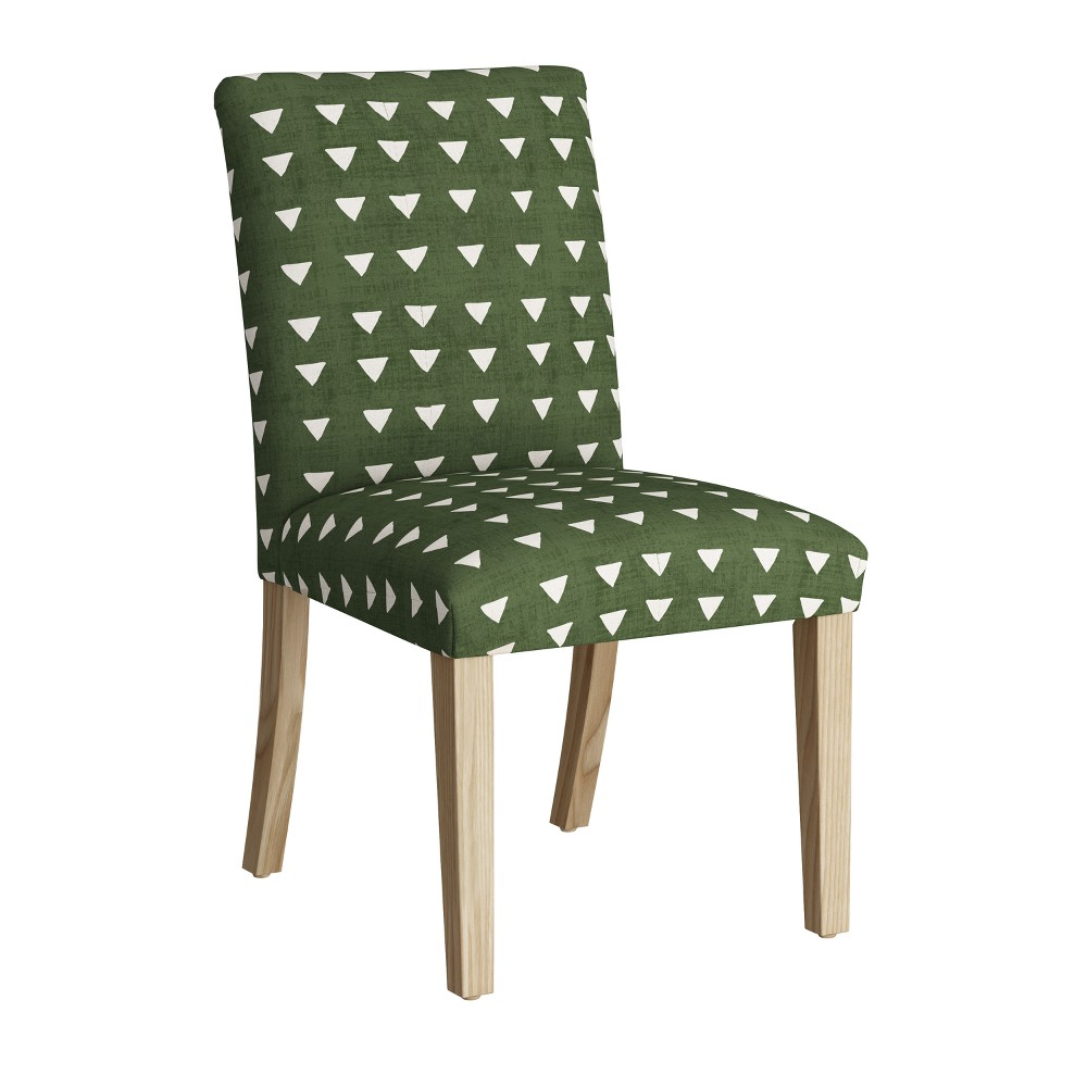 Hendrix Dining Chair with Natural Legs Green Triangle Print - Cloth & Co.