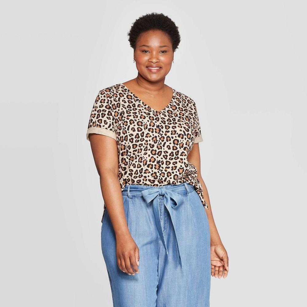 1fc88fc35169 Womens Plus Size Leopard Print Short Sleeve V Neck T Shirt Ava Viv Brown 1X