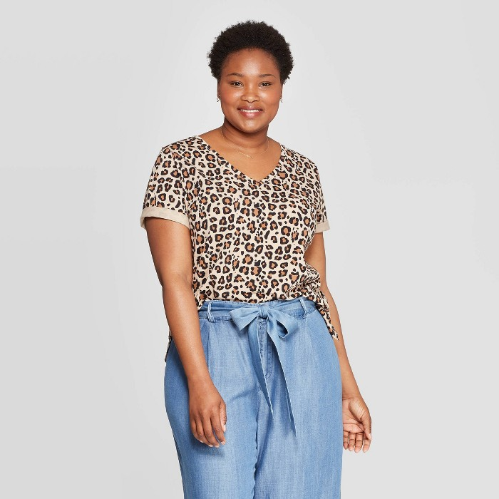 Women's Plus Size Leopard Print Short Sleeve V-Neck T-Shirt - Ava & Viv™ Brown - image 1 of 2