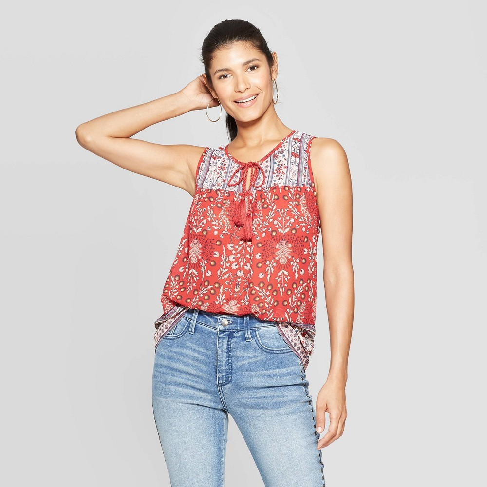 Women's Printed Sleeveless V-Neck Tank Top - Knox Rose Red L