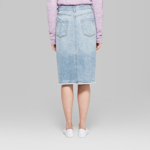 f067eedba05 Women s Button Front Denim Midi Skirt - Wild Fable™ Medium Blue Wash    Target