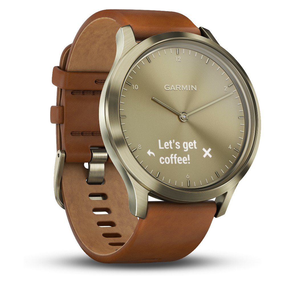 Garmin vivomove HR Premium Gold Watch with Brown Leather Band, Light Gold