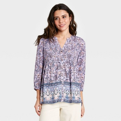 Women's Paisley Print Long Sleeve Smocked Button-Down Top - Knox Rose™
