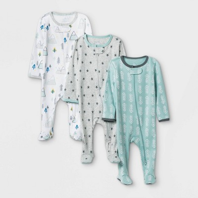 Baby Boys' 3pk Adventure Zip-Up Sleep N' Play - Cloud Island™ White/Gray/Mint