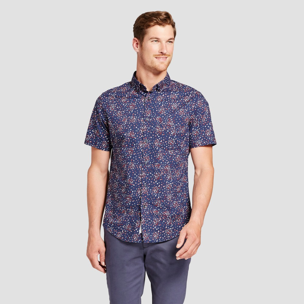 Men's Short Sleeve Soft Wash Slim Fit Button-Down Shirt - Goodfellow & Co Jamestown Blue XL