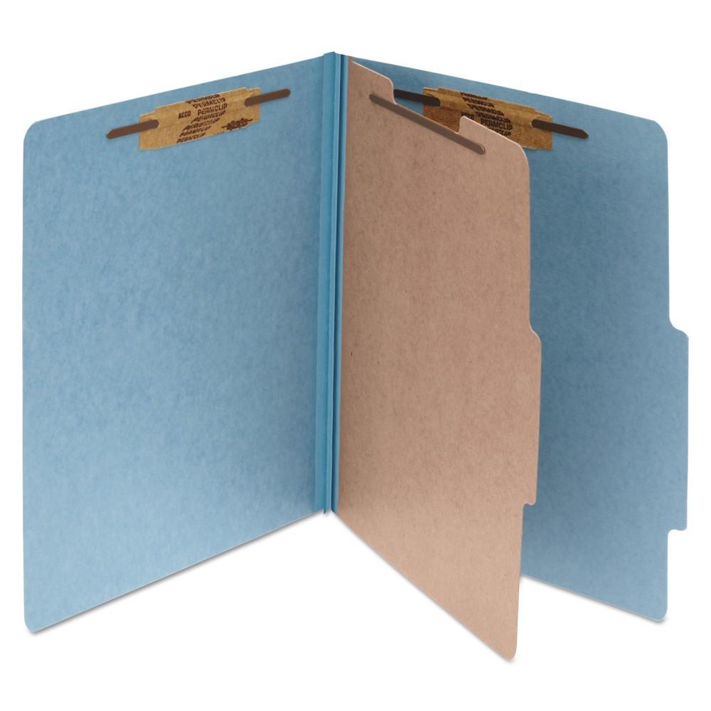 Acco Pressboard 25-Pt. Classification Folders, Letter, Four-Section, Sky Blue, 10/Box, Beige
