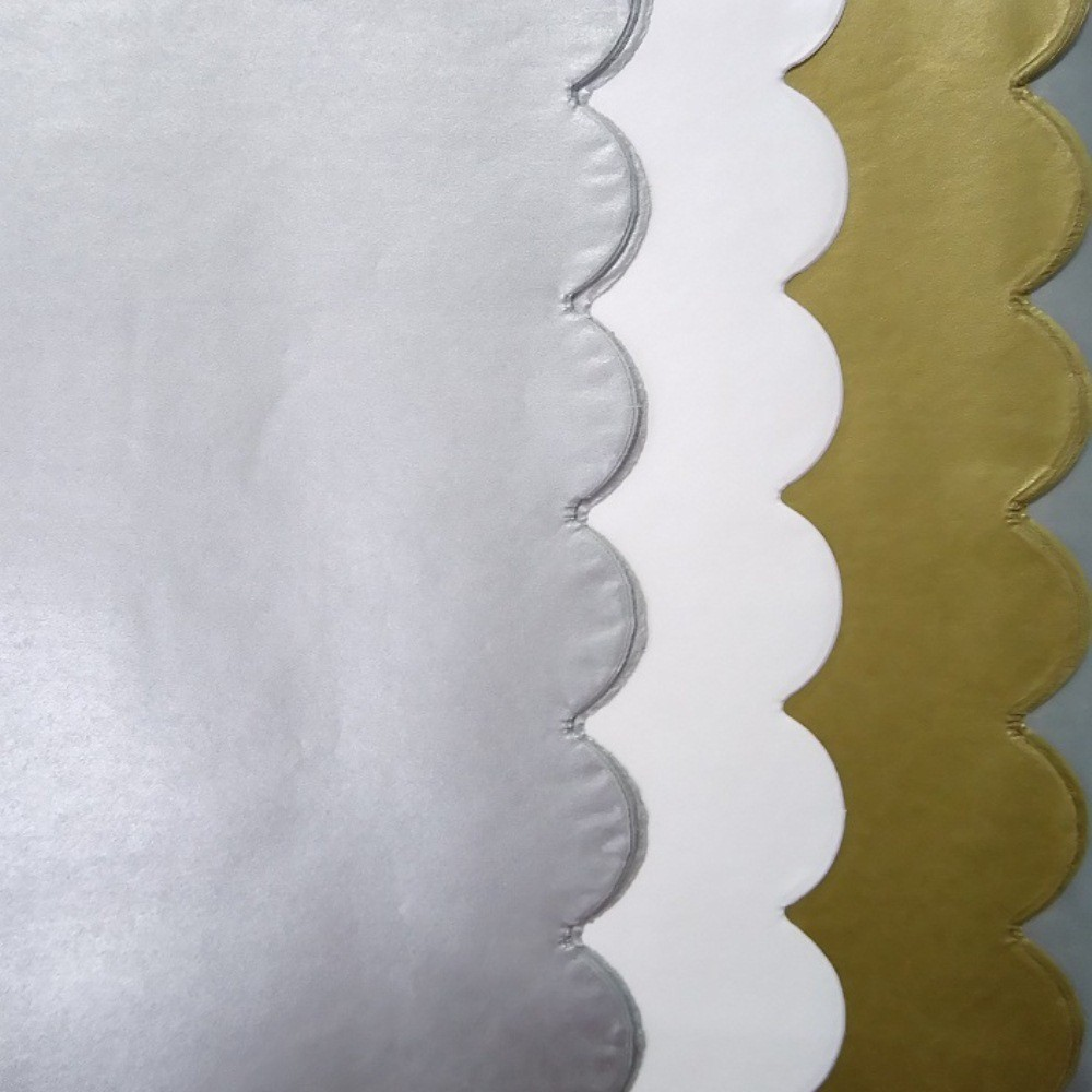 Image of 20ct 3 Step Scallop Banded Tissue Papers Gold - Spritz