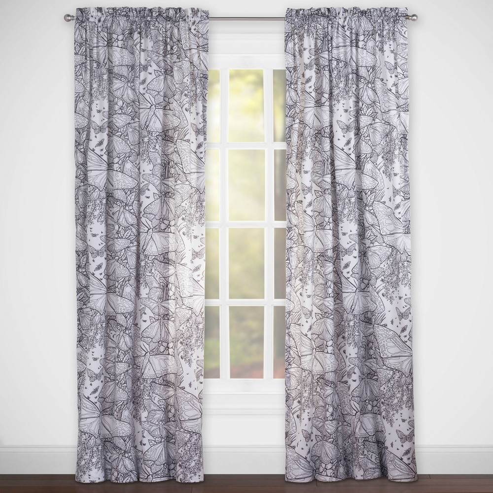 Image of Beautiful Butterflies Hidden Pictures Rod Pocket Curtain Panel - Highlights, Black