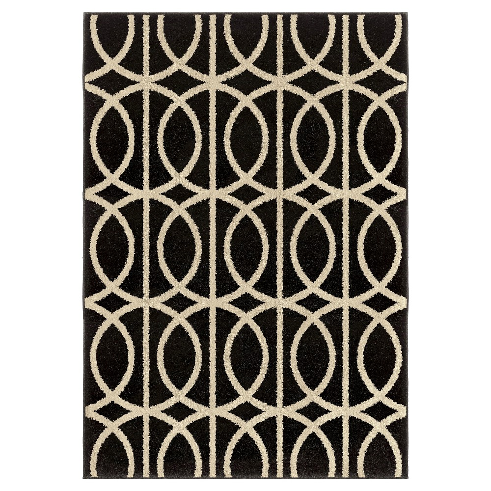 Black Solid Woven Area Rug - (5'3