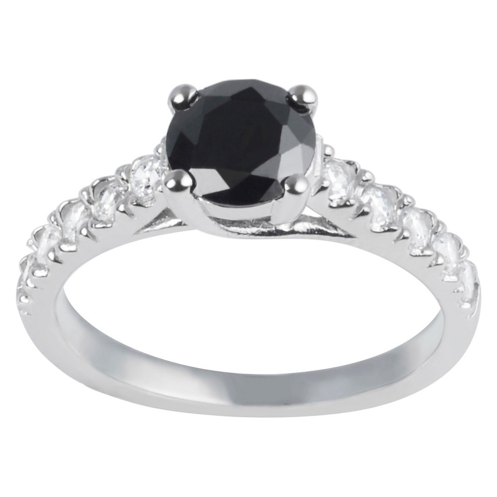 4/5 CT. T.W. Round-Cut CZ Pave Set Classic Engagement Ring in Sterling Silver - Black, 9, Girl's