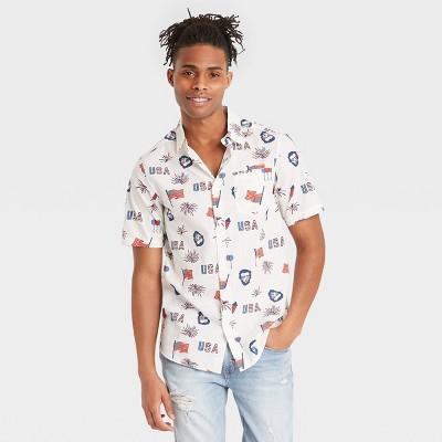 Men's Abraham Lincoln Flag Woven Button-Down Shirt - White