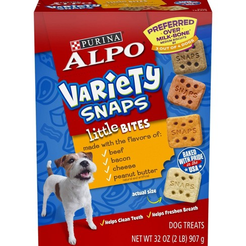 Purina Alpo Variety Snaps Little Bites Beef, Bacon, Cheese & Peanut Butter Flavor 32oz - image 1 of 4