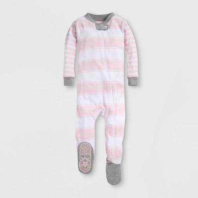 Burt's Bees Baby® Baby Girls' Mixed Peace Stripe Organic Cotton Footed Sleeper - Peach 12M