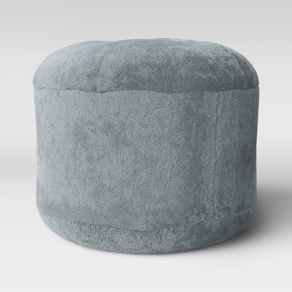 Image of Character Pouf Round Faux Fur Gray - Pillowfort