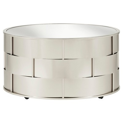 Lovenia Mirrored Top Cocktail Table Nickel - Inspire Q