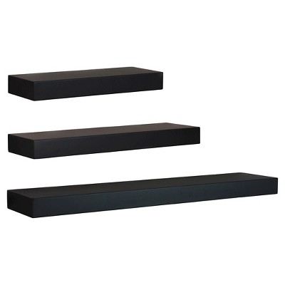 Maine Decorative Wall Ledge Shelf Set of 3 - Black