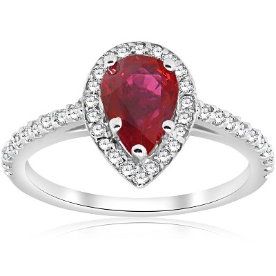 Pompeii3 1 1/2ct Pear Shape Ruby & Diamond Halo Ring 14K White Gold