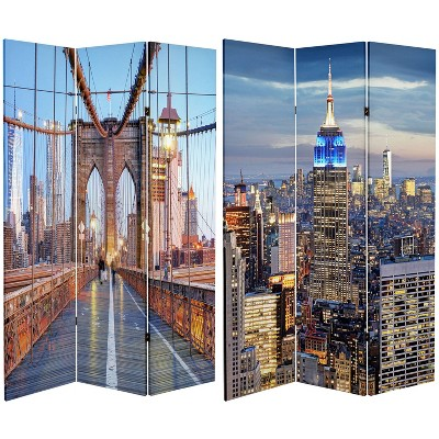 """6"""" Double Sided Vibrant New York Bridge Canvas Room Divider Blue/Gray - Oriental Furniture"""