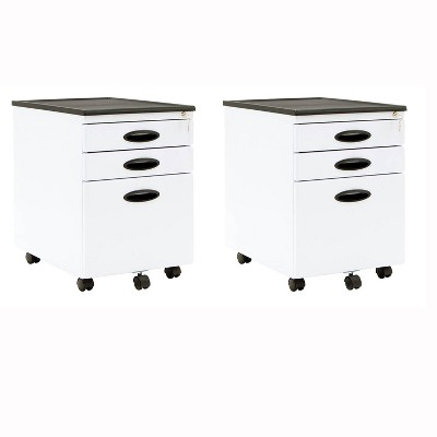 Calico Designs Home Office Furniture Storage 3 Drawer File Cabinet White, 2 Pack
