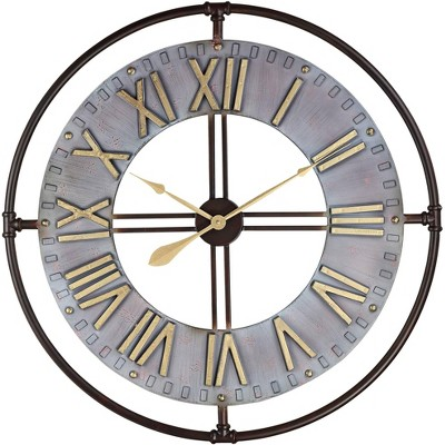 "River Parks Studio Industry 33"" Wide Steel and Gold Open-Face Wall Clock"