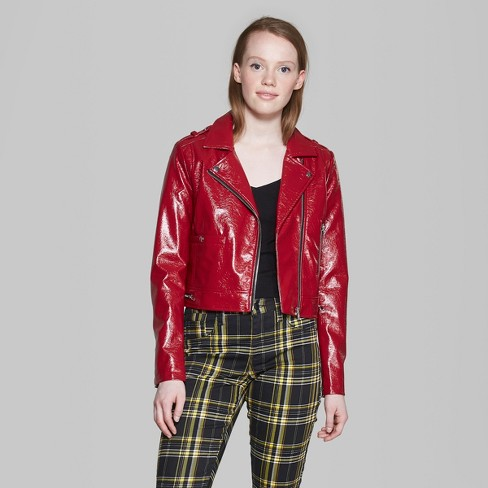 Women S Faux Patent Leather Moto Jacket Wild Fable Target