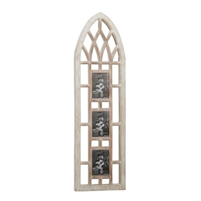 """14"""" x 47"""" Whitewashed Cathedral Wood Picture Frame Photo Collage Wall Decor with 3 Photo Holders - Olivia & May"""
