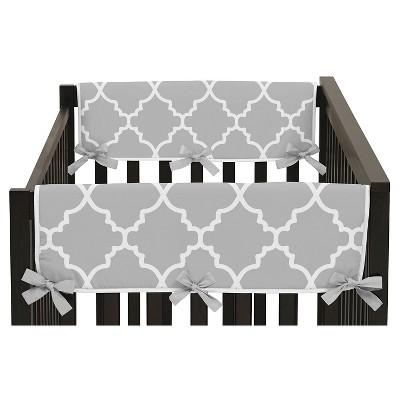 Sweet Jojo Designs Gray & White Trellis Side Crib Rail Guard Covers (Set of 2)- Gray