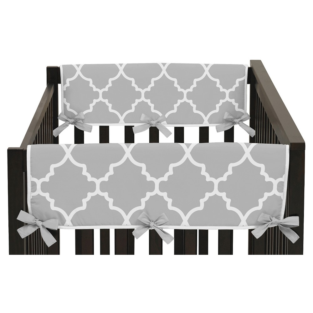 Sweet Jojo Designs Gray & White Trellis Side Crib Rail Guard Covers (Set of 2) - Gray