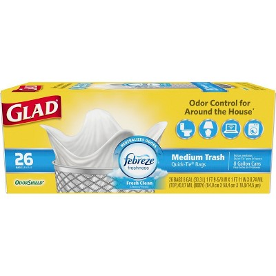 Glad Medium Quick-Tie Trash Bags + OdorShield White Trash Bags - Febreze Fresh Clean - 8 Gallon - 26ct