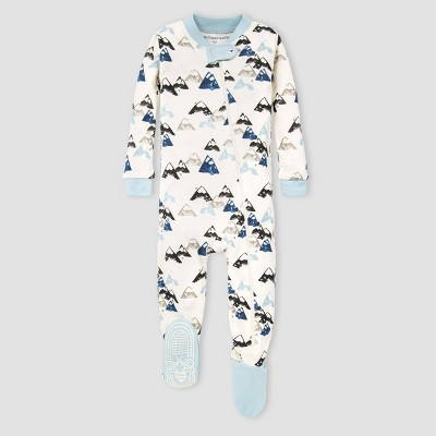 Burt's Bees Baby® Baby Boys' Organic Cotton Mountain Footed Pajama - Blue/Cream 6-9M
