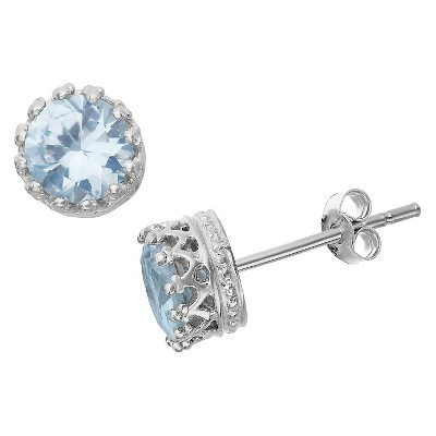 6mm Round-cut Aquamarine Crown Earrings in Sterling Silver