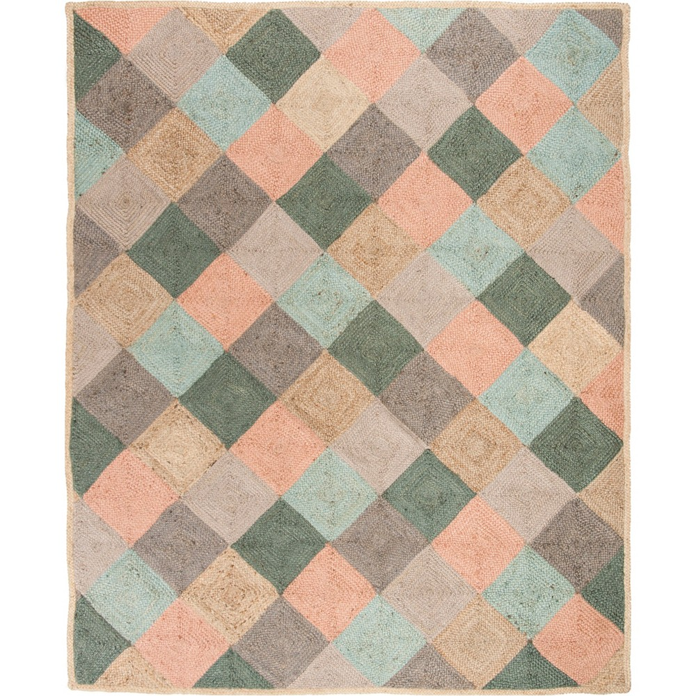 8'X10' Geometric Woven Area Rug Natural - Safavieh, White