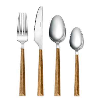 Tomodachi 16pc Stainless Steel Dali Silverware Set Wood